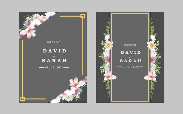 Szablon karty zaproszenia ślubne z kwiatami