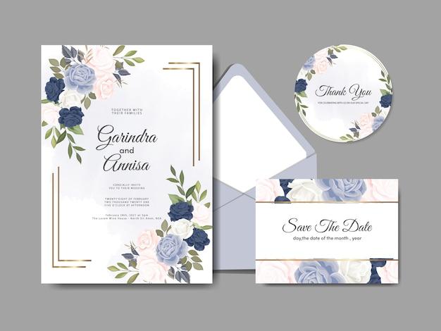 Szablon karty zaproszenia ślubne z pięknych liści kwiatowy