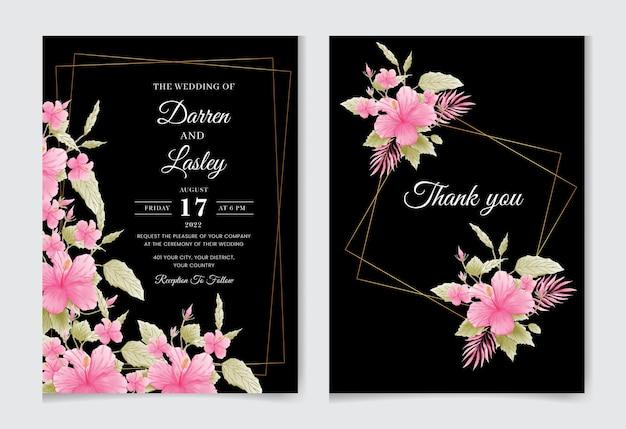 Szablon karty zaproszenia ślubne z pięknymi kwiatami