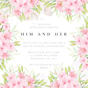 Szablon karty zaproszenia ślubne z ramą kwiatowy wiśniowy kwiat