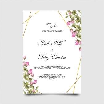 Szablon karty zaproszenia ślubne z różowym pąki róży w stylu przypominającym akwarele