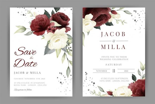 Szablon karty zaproszenia ślubne z róży biały i czerwony zestaw akwarela