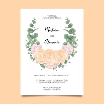Szablon karty zaproszenia ślubne z róży kwiat i eukaliptusa stylu akwarela