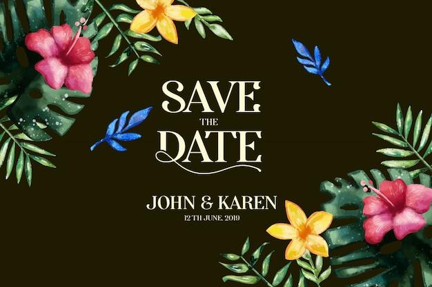 Szablon karty zaproszenia ślubne. zapisz datę