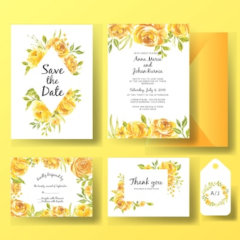 Szablon karty zaproszenia ślubne zestaw akwarela kwiat róży żółty