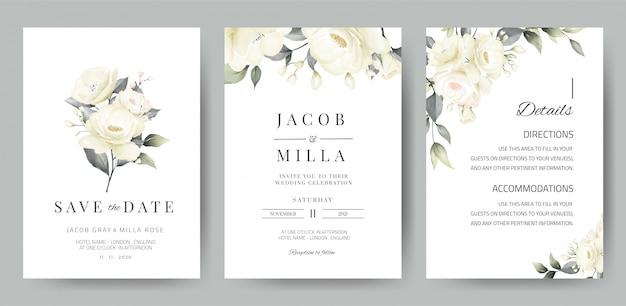 Szablon karty zaproszenia ślubne zestaw z akwarela bukiet białej róży
