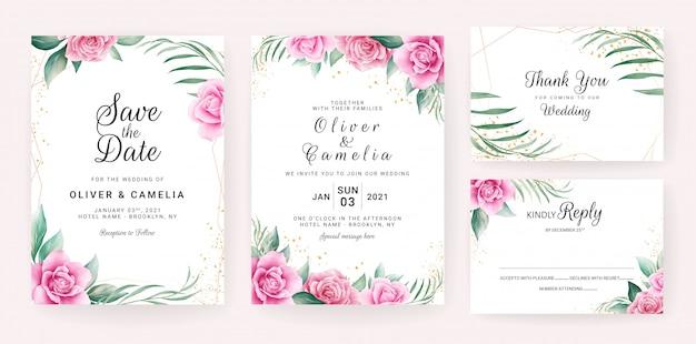 Szablon karty zaproszenia ślubne zestaw z akwarela kompozycje kwiatowe i granicy.
