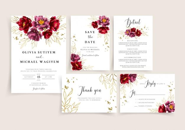Szablon karty zaproszenia ślubne zestaw z burgund i złoty kwiatowy