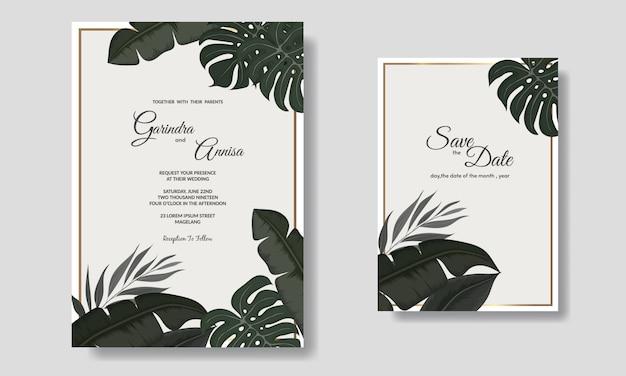 Szablon karty zaproszenia ślubne zestaw z ciemnymi liśćmi tropikalnymi dekoracji premium