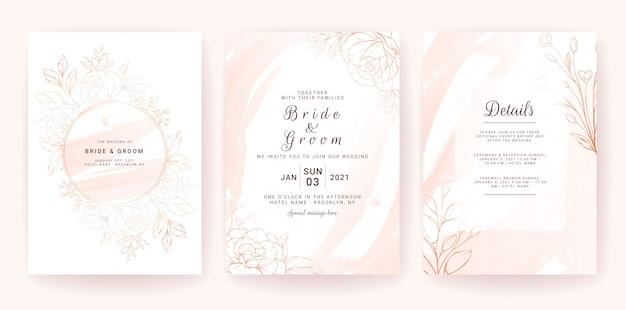 Szablon karty zaproszenia ślubne zestaw z geometryczną ramą, złota akwarela splash i kwiatowy linii.