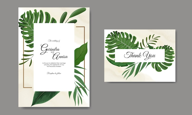 Szablon karty zaproszenia ślubne zestaw z tropikalnych liści dekoracji