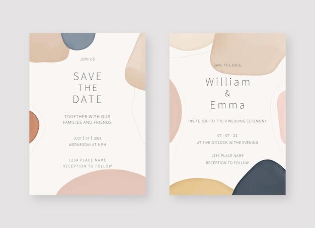 Szablon karty zaproszenia. zestaw projektu szablonu karty zaproszenie na ślub