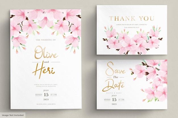 Szablon karty zaproszenie akwarela kwiat wiśni