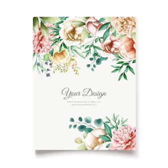 Szablon karty zaproszenie eleganckie piwonie