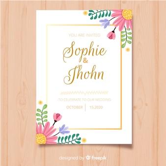 Szablon karty zaproszenie kwiatowy ramki