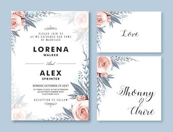 Szablon karty zaproszenie na ślub Kwiat akwarela