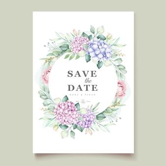 Szablon karty zaproszenie na ślub akwarela hortensja