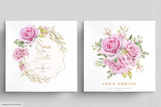 Szablon karty zaproszenie na ślub akwarela róże