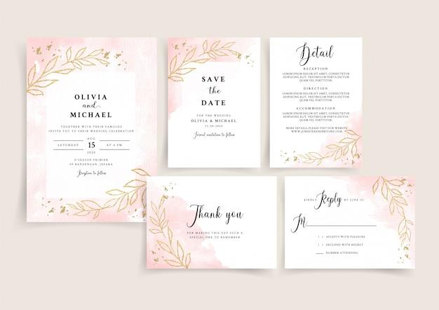 Szablon karty zaproszenie na ślub akwarela różowego złota z złoty kwiatowy