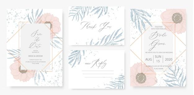 Szablon karty zaproszenie na ślub akwarela różowy zestaw zielony kwiatowy dekoracje.
