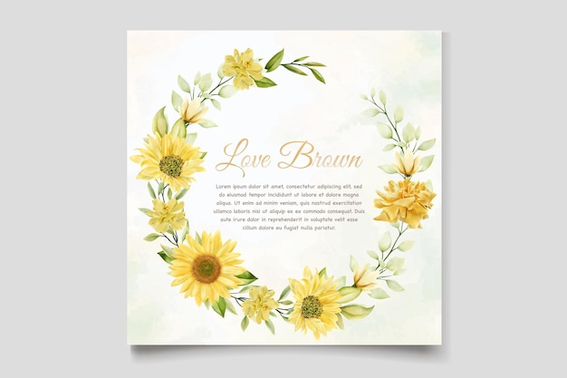 Szablon karty zaproszenie na ślub akwarela słoneczniki