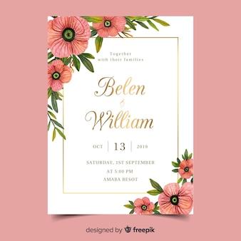 Szablon karty zaproszenie na ślub akwarela