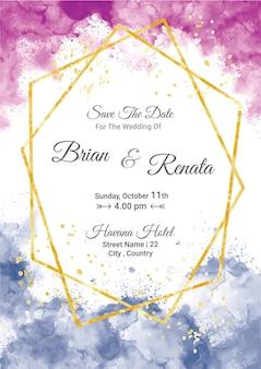 Szablon karty zaproszenie na ślub akwarelowy ze złotym brokatem i dekoracją linii