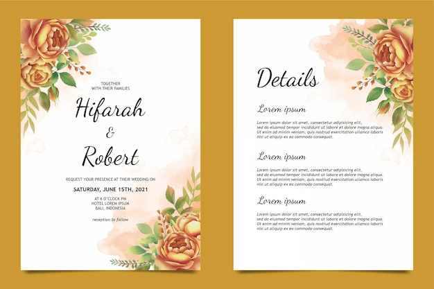 Szablon karty zaproszenie na ślub i karta szczegółów z piękną dekoracją róż akwarela