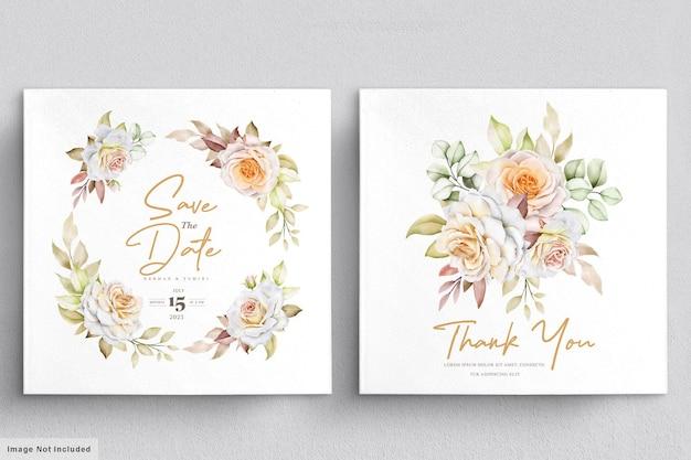 Szablon karty zaproszenie na ślub kwiatowy akwarela