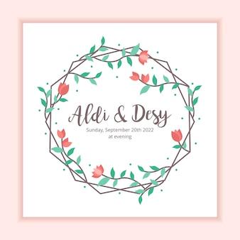 Szablon karty zaproszenie na ślub kwiatowy ramki