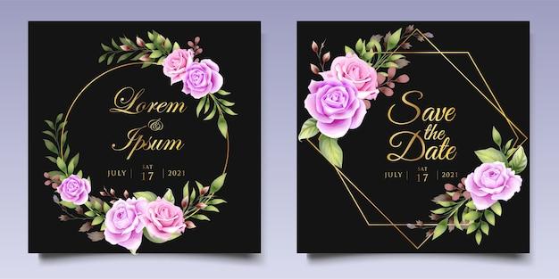 Szablon karty zaproszenie na ślub kwiatowy rysunek ręka