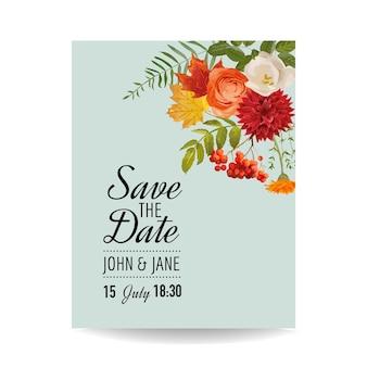 Szablon karty zaproszenie na ślub kwiatowy z jesiennych kwiatów, liści i jarzębiny. dekoracja baby shower w
