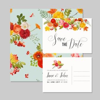 Szablon karty zaproszenie na ślub kwiatowy zestaw z jesiennych kwiatów, liści i jarzębiny. dekoracja baby shower w