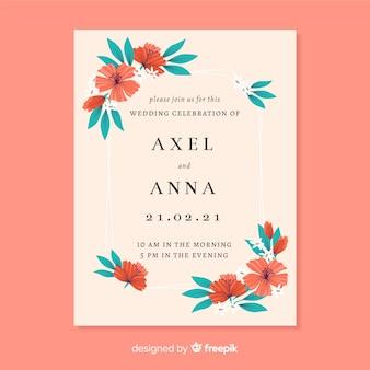 Szablon karty zaproszenie na ślub kwiatowy