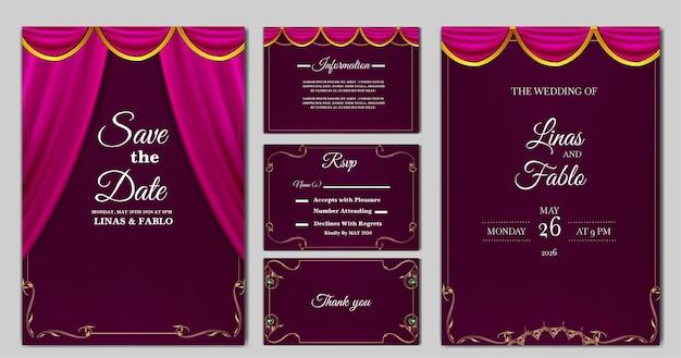 Szablon karty zaproszenie na ślub luksusowych kolekcji