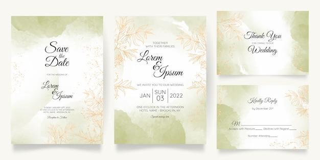 Szablon karty zaproszenie na ślub pastelowe akwarela ze złotą dekoracją kwiatową