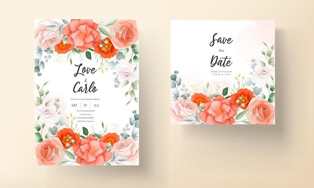 Szablon karty zaproszenie na ślub piękny kwiat pomarańczy