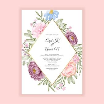 Szablon karty zaproszenie na ślub piękny kwiat