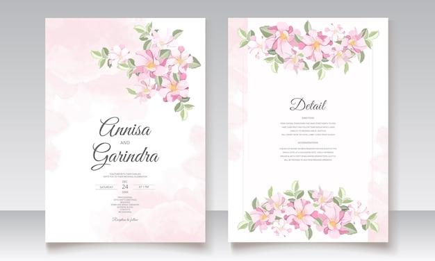 Szablon karty zaproszenie na ślub piękny kwiatowy rama