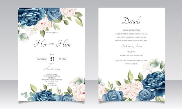 Szablon karty zaproszenie na ślub piękny wieniec kwiatowy
