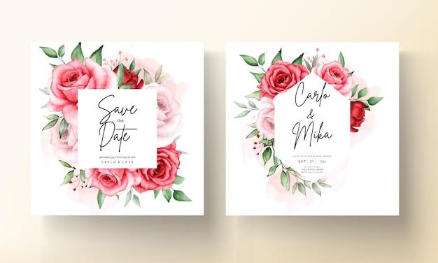 Szablon karty zaproszenie na ślub romantyczny bordowy kwiat