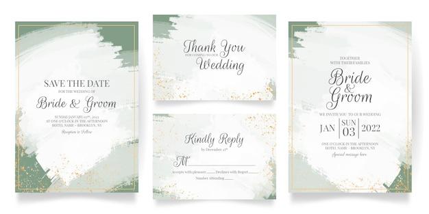 Szablon karty zaproszenie na ślub z abstrakcyjną dekoracją akwarela