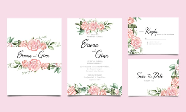 Szablon karty zaproszenie na ślub z akwarela kwiatowy i liści