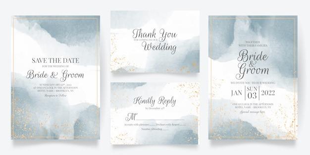 Szablon karty zaproszenie na ślub z dekoracją akwarela
