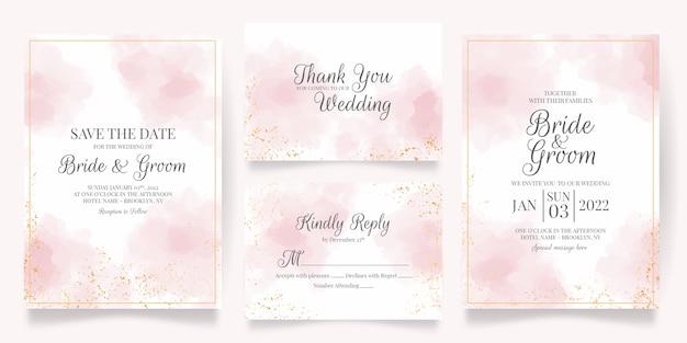 Szablon karty zaproszenie na ślub z dekoracją akwarelową