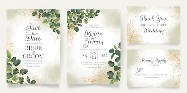 Szablon karty zaproszenie na ślub z dekoracją liści akwarela