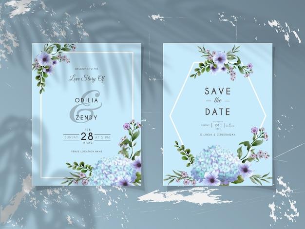 Szablon karty zaproszenie na ślub z eleganckim kwiatem