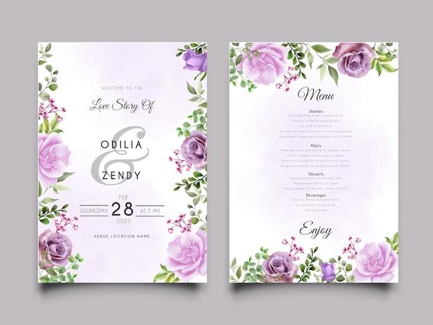 Szablon karty zaproszenie na ślub z fioletowymi różami ilustracji projektu