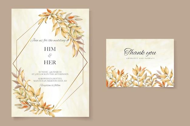 Szablon karty zaproszenie na ślub z jesiennych liści