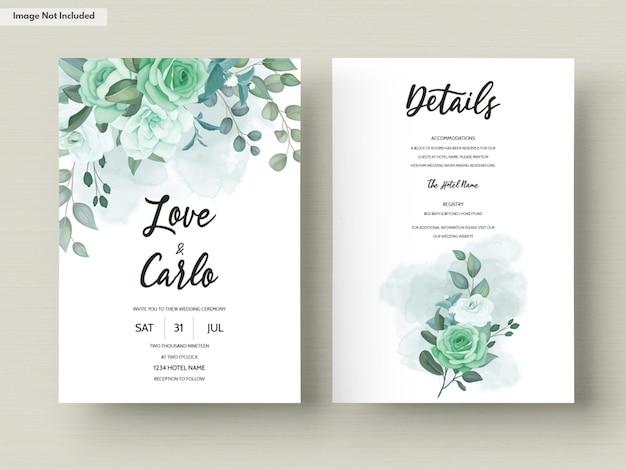Szablon karty zaproszenie na ślub z kwiatem zieleni i liśćmi